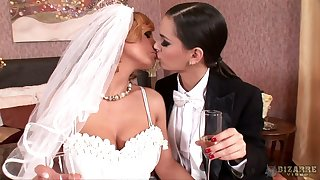 Busty blond chick Dorthy Swart will never forget her first lesbian wedding night