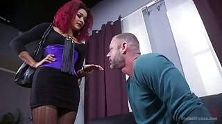Dirty mistress Daisy Ducatiputs on strapon and fucks submissive gay blade