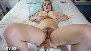 Huge-Boobed platinum-blonde girl, Codi Vore is opening up her gams broad candid to the fullest extent a finally absolutely not a fuckin' machine