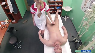 Handsome stud gets his balls drained by a drawing blonde nurse