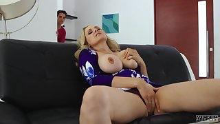 Mature wife Julia Ann masturbates before her husband fucks her