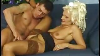 Blonde old mature gets fucked hard by young stud