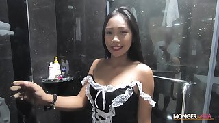 Blue Filipina maid shows striptease in the shower