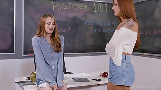 Excellent classroom pussy fun between team a few redheads