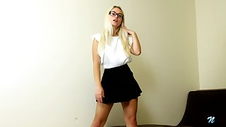 Hot blondie relating to short skirt Polly B is jilling off yummy kidnap