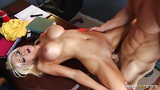 Fit light-complexioned Rikki Six spreads her long arms for her horny chief honcho