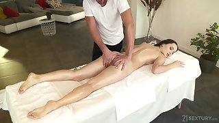 Sexy babe Sasha Sparrow is fucked anally after a full body massage
