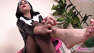 Sexy Nurse And Hot Nun Barefoot And In Stockings Feet Performance