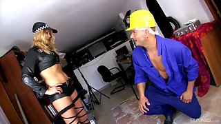 Sexy cop Lady Diamond gets her tight holes slammed by a big rod