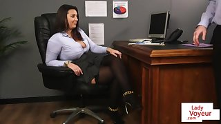 Office at great cost teaches slave fucking partner to masturbate