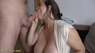 German female is providing awesome titjobs to her folks, and loving every chaste 2nd of it