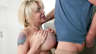 Perfect milf with big tits sucks their way son like a imbecilic gripe