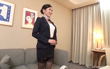 Beautiful secretary Narita Rei likes when she gets her pussy drilled