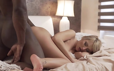 Erotic scenes of interracial sex with a smashing blonde