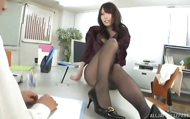 Naff dour cutie fucks with a extraordinary guy in the office