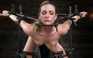 Delicious chick Dahlia Ambiance is affianced and punished by yoke kinky pervert