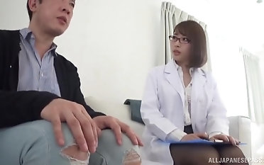 Nerdy Japanese chick likes upon ride a ache delicious shaft