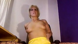 Downcast MILF Pissing on yellow shorts