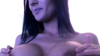 Hot Brunette Shows Boobs & Smokes On Cam (No Sound).